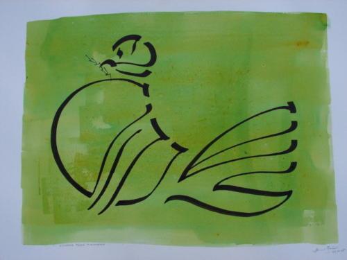 """Neujahrsgruss """"Friedenstaube"""" II (grün)"""